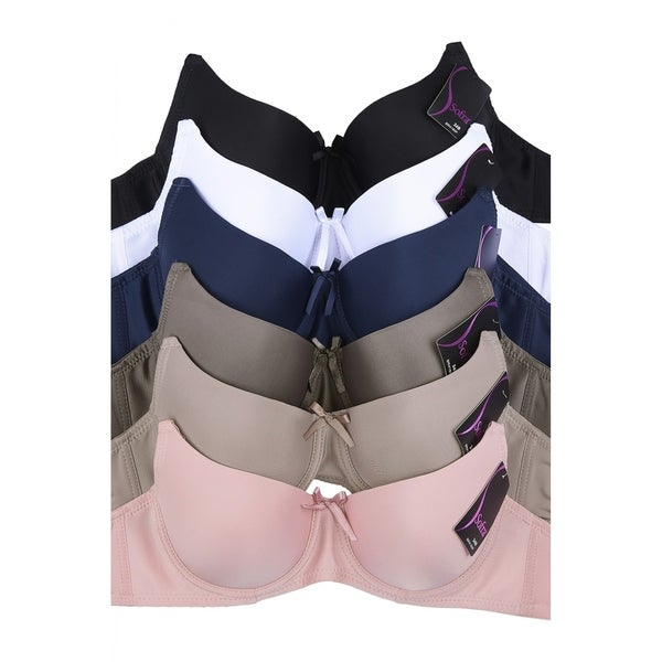 6-PACK Sofra Women's Full Coverage Solid Bra (BR4180P). Opens flyout.