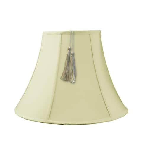 10x20x15 Bell Tassel Lampshade, Eggshell Shantung Fabric