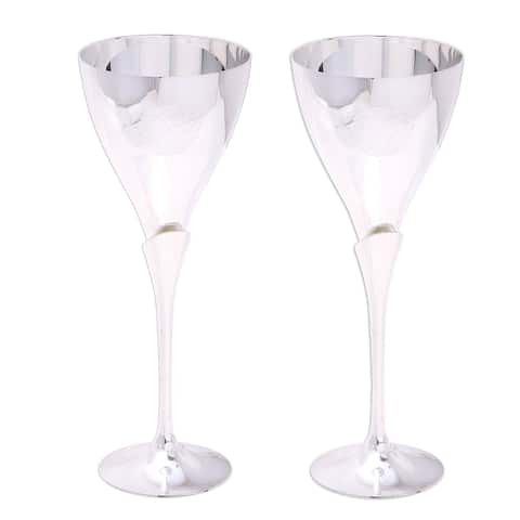 Simple Glamour Silver Plated Goblets (Pair)