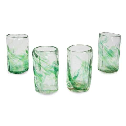 Handmade Jade Mist Blown Glass Shot Glasses, Set of 4 (Mexico)