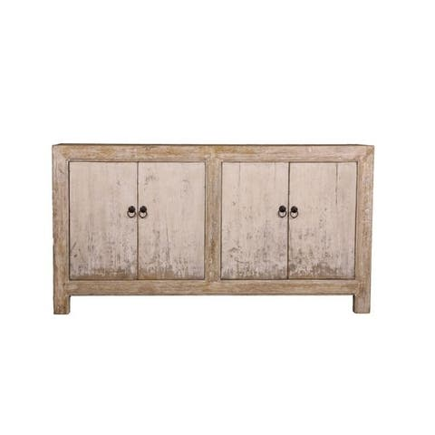 Lily's Living Reclaimed Wood Shandong Buffet with 4 Drawers & Antique Off White Finish, 35 Inch Tall