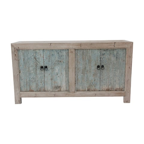 Lily's Living Reclaimed Wood Shandong Buffet With 4 Drawers & Antique Off Soft Aqua Finish, 35 Inch Tall