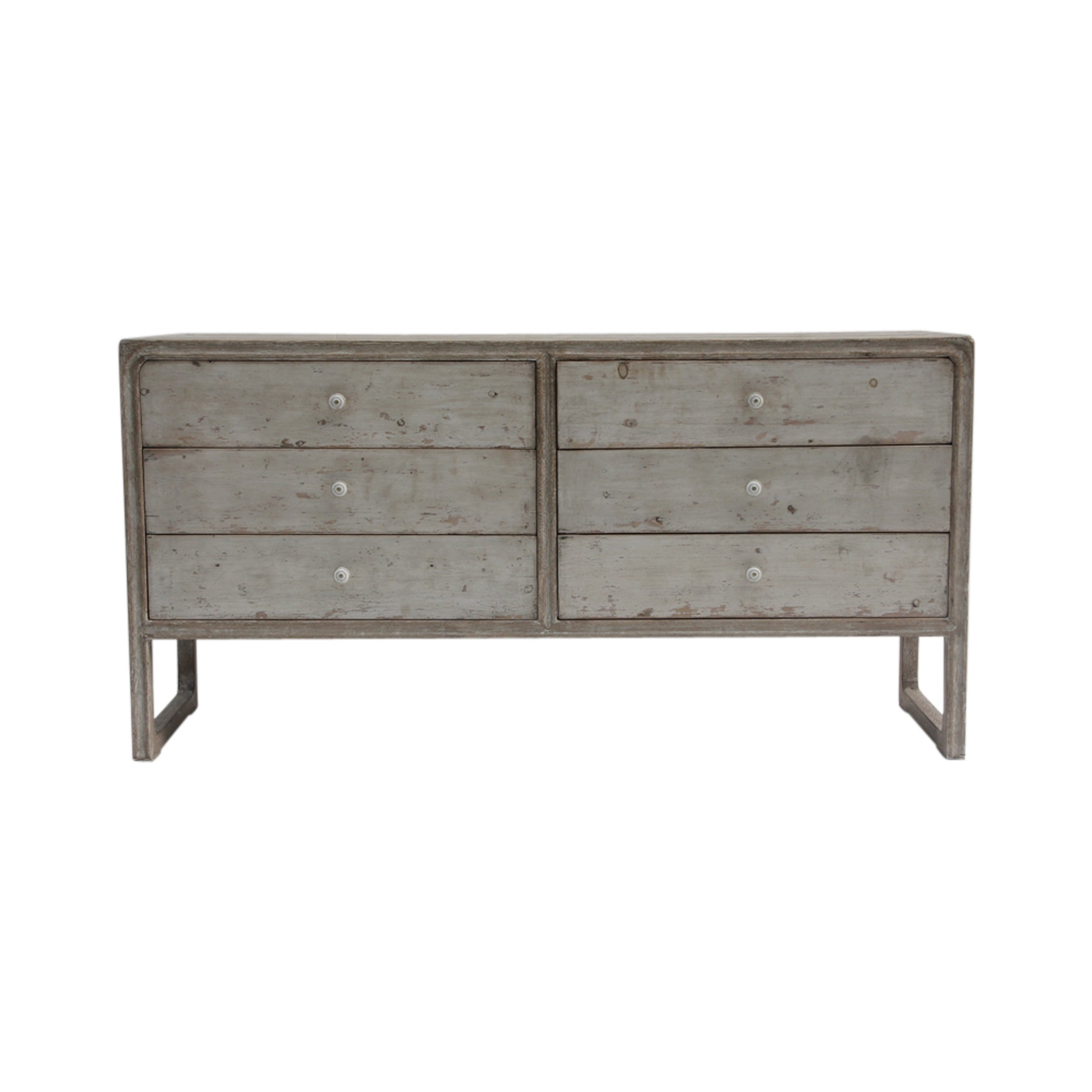 Lily S Living Reclaimed Wood Peking Side Table With 6 Drawers Antique Off White Finish 31 Inch Tall