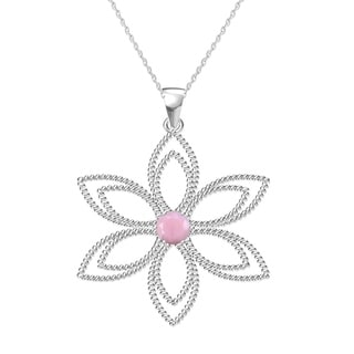 """Sterling Silver with Natural Pink Opal Flower Pendant with 18"""" Chain"""