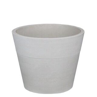 "6"" White Ribbed Rim Round Eco-Friendly Flower Planter"