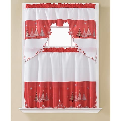 Christmas Tree Embroidered Tier and Swag Kitchen Curtain Set - 60 x 36 in.