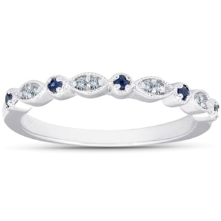 1 5ct Blue Sapphire Diamond Wedding Ring Stackable Band 10k White Gold