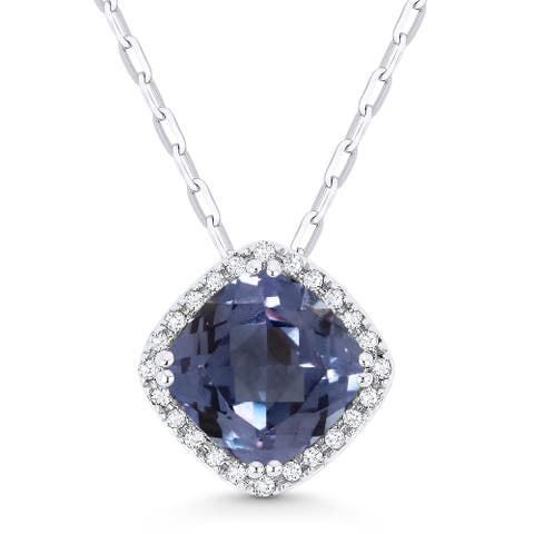 14k White Gold Pendant-Necklace with 2.18-ct Cushion Multi-Colored Alexandrite and 0.07-ct Round White Diamonds