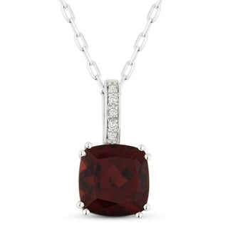14k White Gold Pendant Necklace With 1 84 Ct Cushion Red Garnet And 0 02 Ct Round White Diamonds