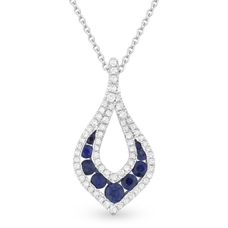 14k White Gold Pendant Necklace With 0 4 Ct Round Blue Sapphire And 0 2 Ct Round White Diamonds