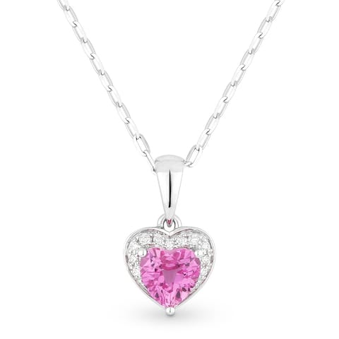 14k White Gold Heart Pendant-Necklace with 0.62-ct Heart Created Pink Sapphire and 0.04-ct Round White Diamonds