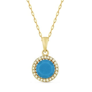 14k Yellow Gold Pendant Necklace With 0 6 Ct Round Blue Turquoise And 0 08 Ct Round White Diamonds