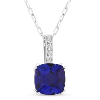 14k White Gold Pendant Necklace With 2 24 Ct Cushion Created Blue Sapphire And 0 02 Ct Round White Diamonds