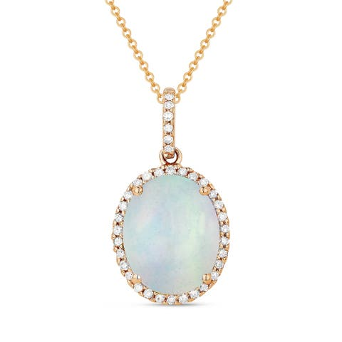 14k Rose Gold Pendant-Necklace with 2-ct Oval White Opal and 0.12-ct Round White Diamonds