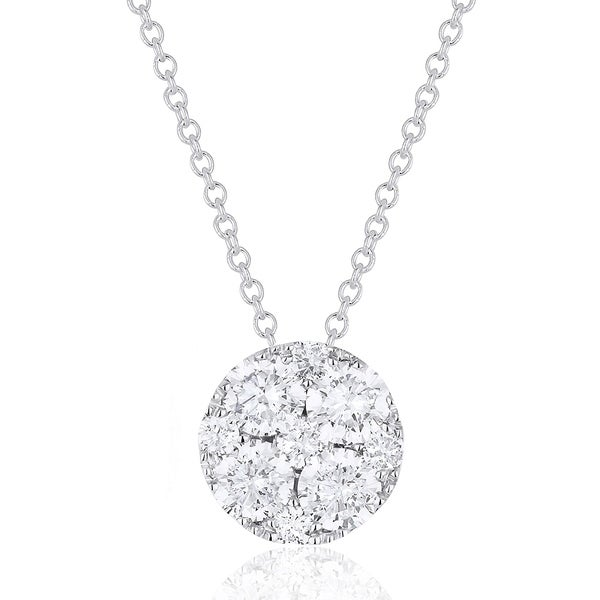 14K White Gold Pendant-Necklace with 0.54-ct Round White Diamonds
