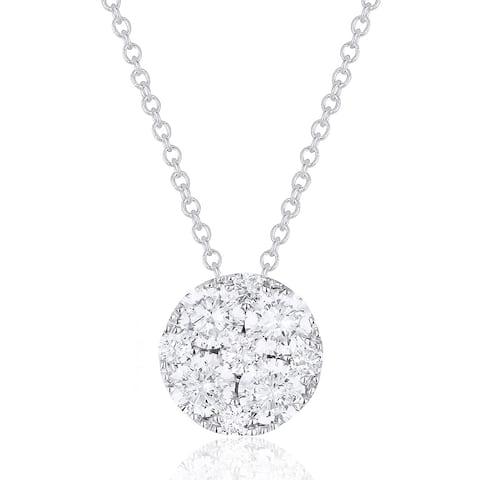 14K White Gold Pendant-Necklace with 0.54-ct Round White Diamonds