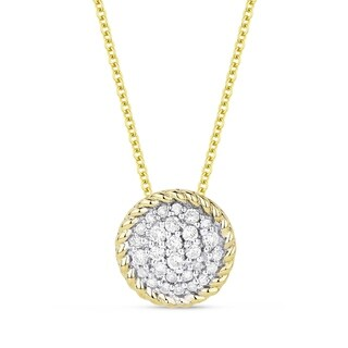 14K Yellow Gold Pendant Necklace With 0 15 Ct Round White Diamonds