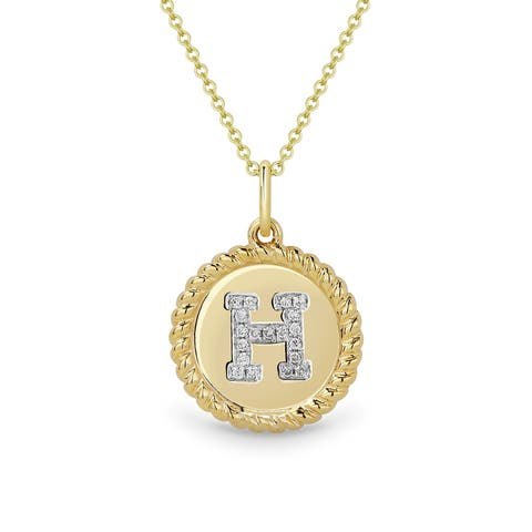 14K Yellow Gold Initial-Letter Pendant-Necklace with 0.05-ct Round White Diamonds