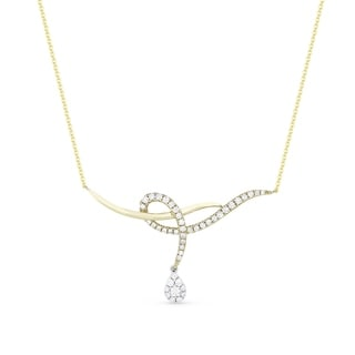 14K Two Tone Gold Pendant Necklace With 0 48 Ct Round White Diamonds