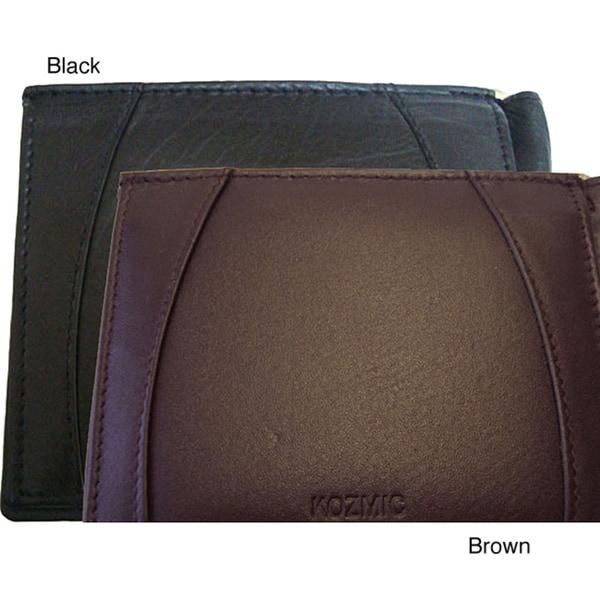 Black Genuine-leather Nine-credit-card-slot Money Clip Wallet