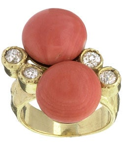 18k Gold Freeform Coral and 1/2ct TDW Diamond Ring