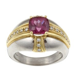 Pre-owned Platinum and 18k Gold Pink Tourmaline and 1/5ct TDW Diamond Estate Ring (Size 11.5)