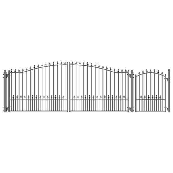 ALEKO Steel Dual Munich Style Driveway 16 ft with Pedestrian Gate - 16 ft x 6 ft / 5 ft x 4 ft