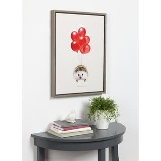 DesignOvation Sylvie Hedgehog Balloons Framed Canvas By Amy Peterson