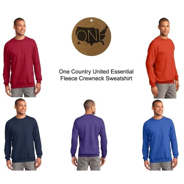 One Country United Mens Essential Fleece Crewneck Sweatshirt