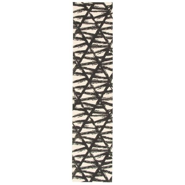 eCarpetGallery Machine Woven Bellisima Black, Ivory Polyester Rug - 2'2 x 24'0