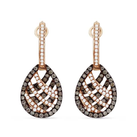 14k Rose Gold Dangling Earrings with 0.27ct Round Brown Diamonds