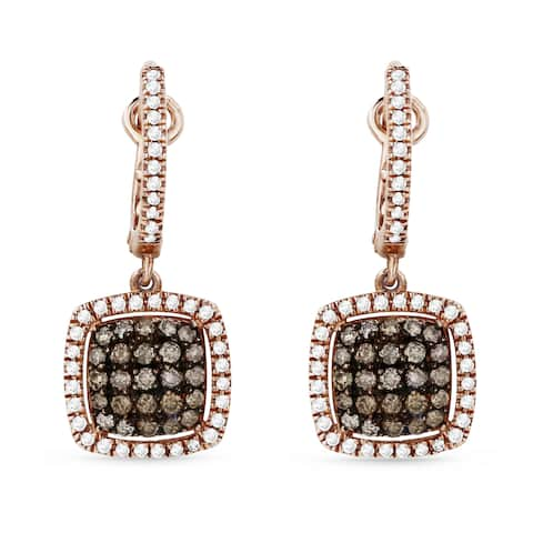 14k Rose Gold Dangling Earrings with 0.32ct Round Brown Diamonds