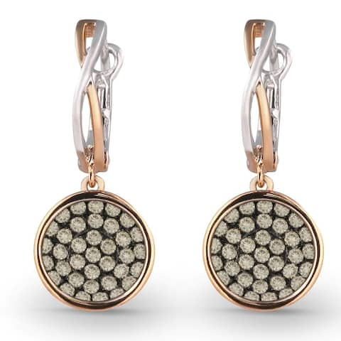 14k Rose Gold Dangling Earrings with 0.77ct Round Brown Diamonds