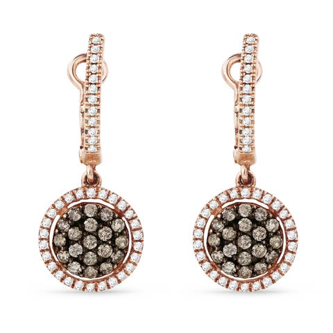 14k Rose Gold Dangling Earrings with 0.3ct Round Brown Diamonds
