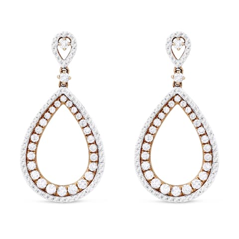 14k Rose Gold Dangling Earrings with 1.24ct Round White Diamonds