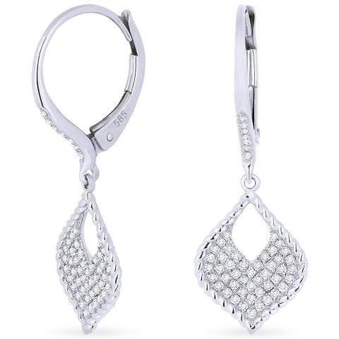 14k White Gold Dangling Earrings with 0.3ct Round White Diamonds