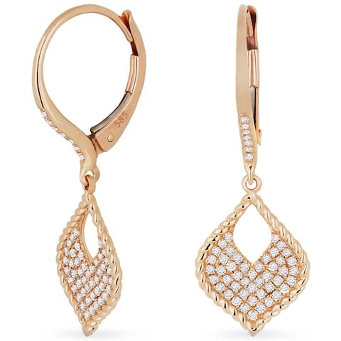 14k Rose Gold Dangling Earrings with 0.29ct Round White Diamonds