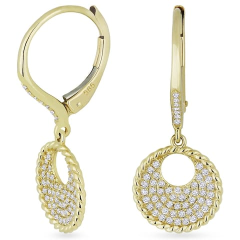 14k Yellow Gold Dangling Earrings with 0.33ct Round White Diamonds