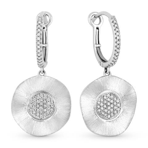 14k White Gold Dangling Earrings with 0.19ct Round White Diamonds