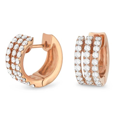 14k Rose Gold Hoop Earrings with 0.89ct Round White Diamonds