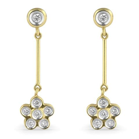 14k Two-Tone Gold Dangling Flower Earrings with 0.28ct Round White Diamonds