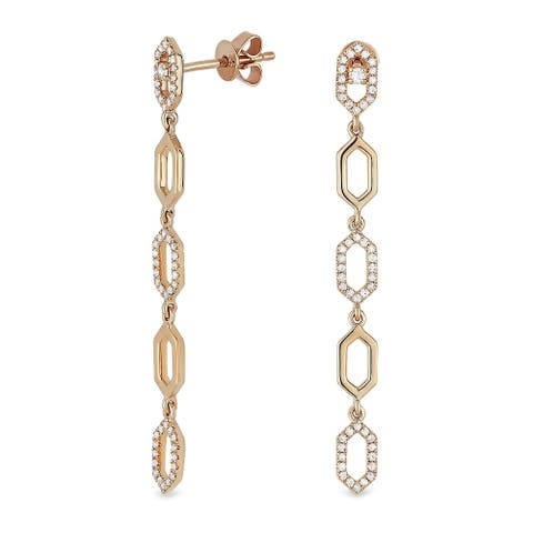 14k Rose Gold Dangling Earrings with 0.26ct Round White Diamonds