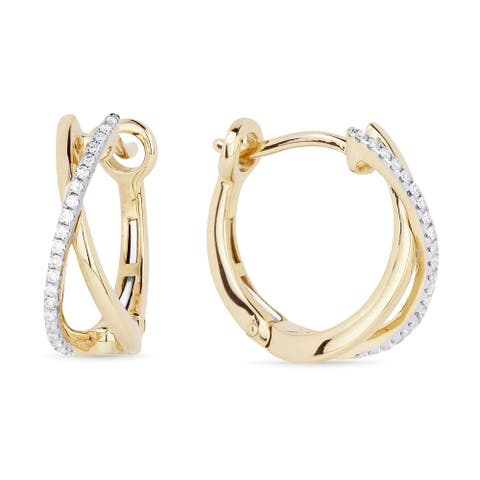 14k Two-Tone Gold Hoop Earrings with 0.12ct Round White Diamonds