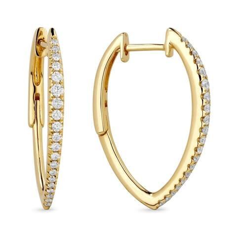 14k Yellow Gold Hoop Earrings with 0.35ct Round White Diamonds