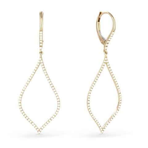 14k Yellow Gold Dangling Earrings with 0.41ct Round White Diamonds