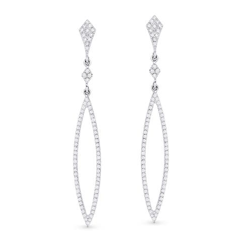 14k White Gold Dangling Earrings with 0.4ct Round White Diamonds