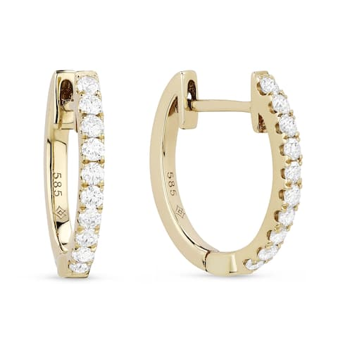14k Yellow Gold Hoop Earrings with 0.33ct Round White Diamonds