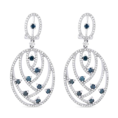 14k White Gold Dangling Earrings with 1.55ct Round Blue Diamonds