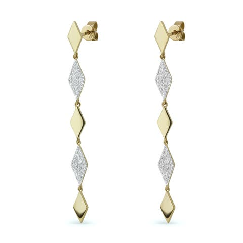 14k Yellow Gold Dangling Earrings with 0.29ct Round White Diamonds