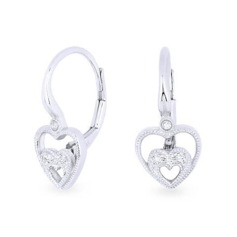 14k White Gold Dangling Heart Earrings with 0.04ct Round White Diamonds